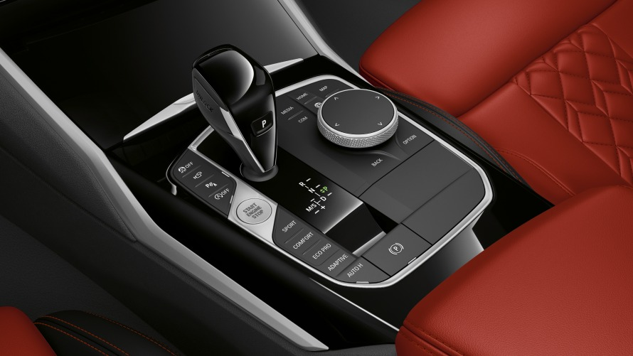 Centre console and gear lever of the BMW M340i xDrive Touring