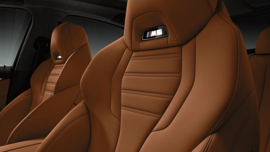 BMW M5 Competition sport seats with illuminated M5 logo