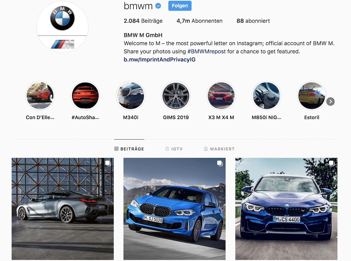 BMW M Instagram