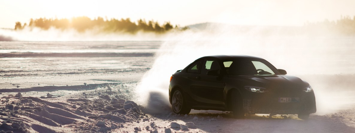 The BMW M2 CS prototype drifting on the frozen lake in Arjeplog