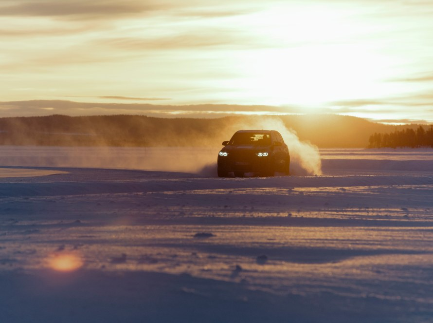 The BMW X5 M prototype drifts on the frozen lake in Arjeplog