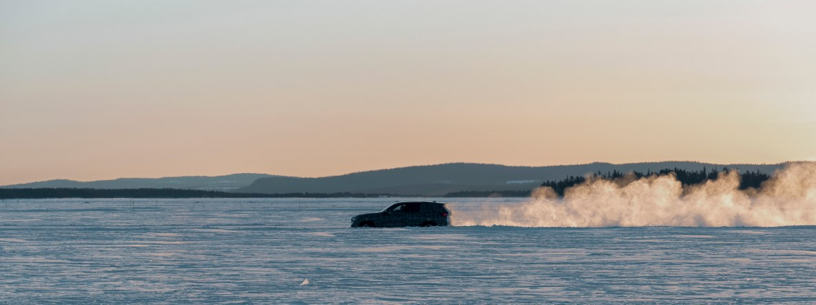 The BMW X5 M prototype at highspeed on the frozen lake in Arjeplog
