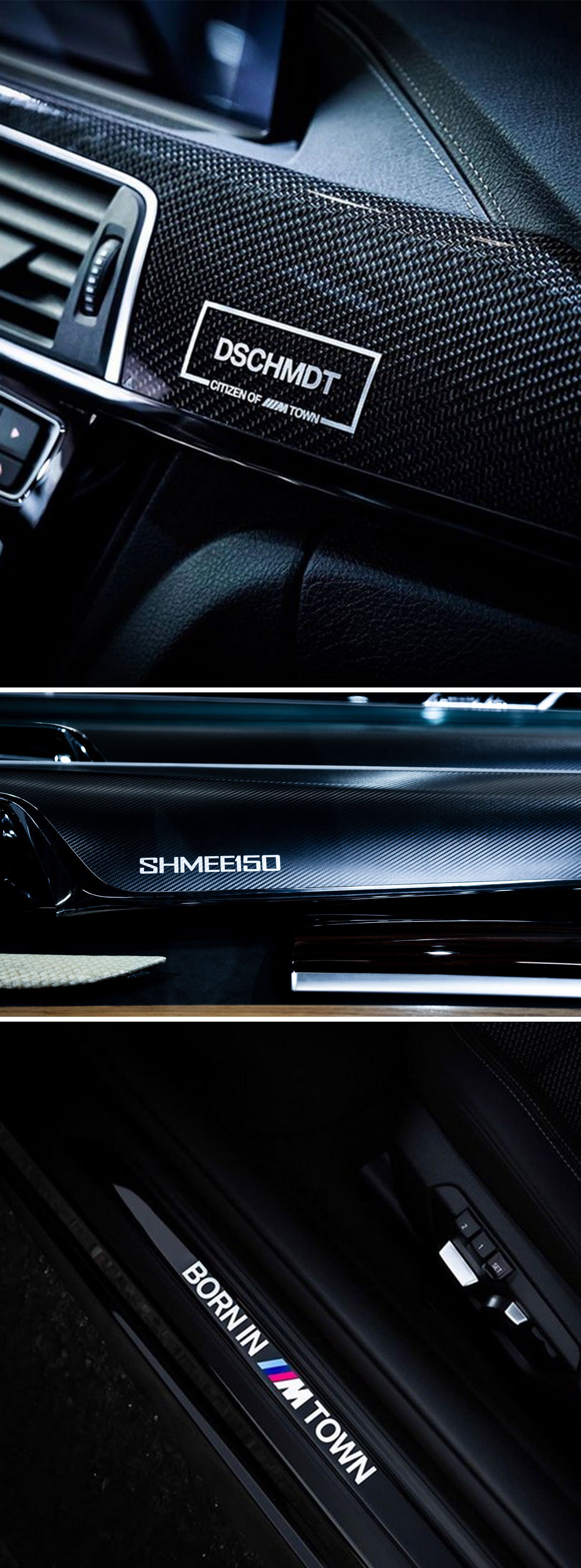Exclusive interior trims with personal engraving by BMW Individual