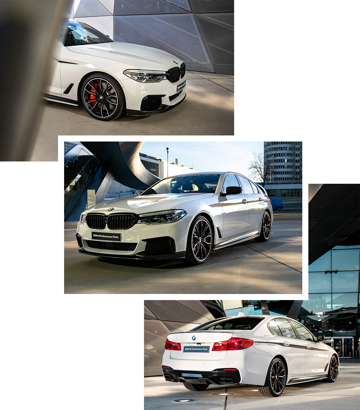 White BMW M5 Competition with M Performance Parts