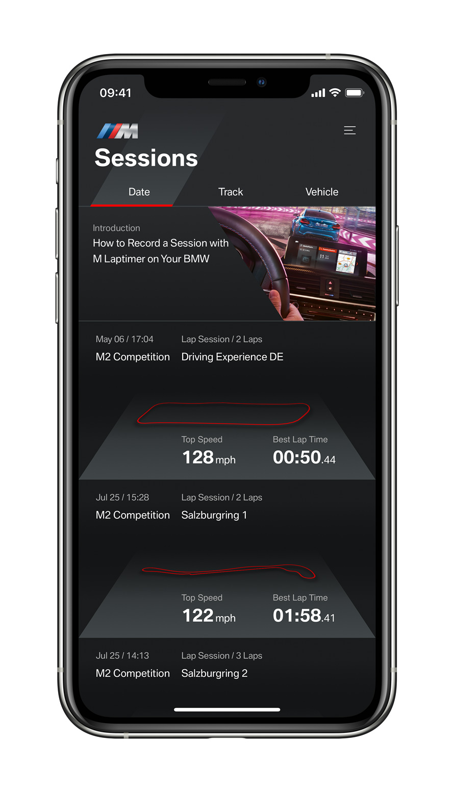 The new BMW M Laptimer for iOS, showed on an iPhone