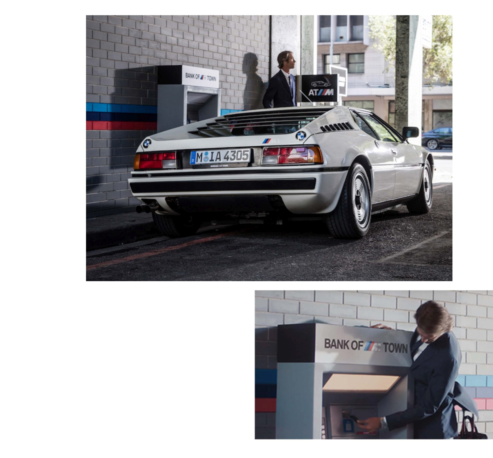 "BMW M1 in cream white in ""Banking in BMW M TOWN"" film"