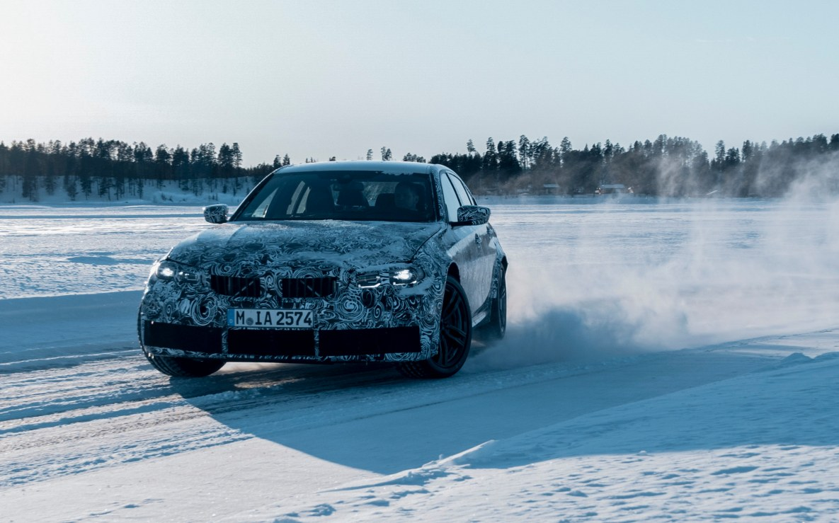 The new BMW M3 G80 on a test drive in Arjeplog, Sweden